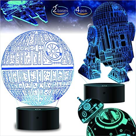 Amazon Com 2 Bases 4 Patterns Star Wars Gifts 3d Illusion Lamp Star Wars Toys Led Night Light For Kids Room Decor 7 Color Change With Remote Timer 2020 Cool Gifts For