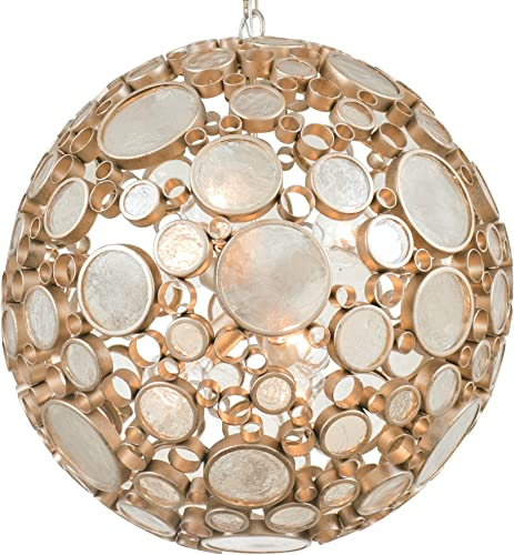 Fascination 6-Light Pendant – Zen Gold Finish with Recycled Champagne Bottle Glass Shade