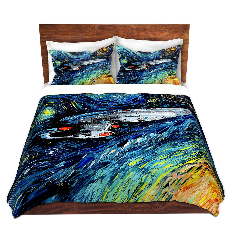 DiaNoche Designs Aja Ann-Van Gogh Star Trek Painting Brushed Twill Home Decor Bedding Cover, 8 King Duvet Sham Set