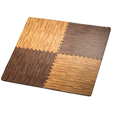 HemingWeigh Printed Wood Grain Interlocking Foam Anti Fatigue Floor Puzzle Mats, Makes a Superior Fitness, Workout and Exercise mat, Thick, Durable & Safe for All Ages - Set of 4 Tiles