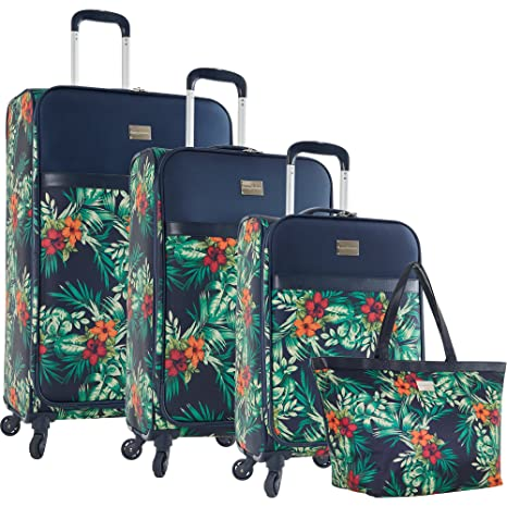 Tommy Bahama Lightweight Luggage Set - 4 Piece Suitcase Set with Spinner Wheels - 28 Inch, 24 Inch, Carry On, Duffle Bag , Printed Floral