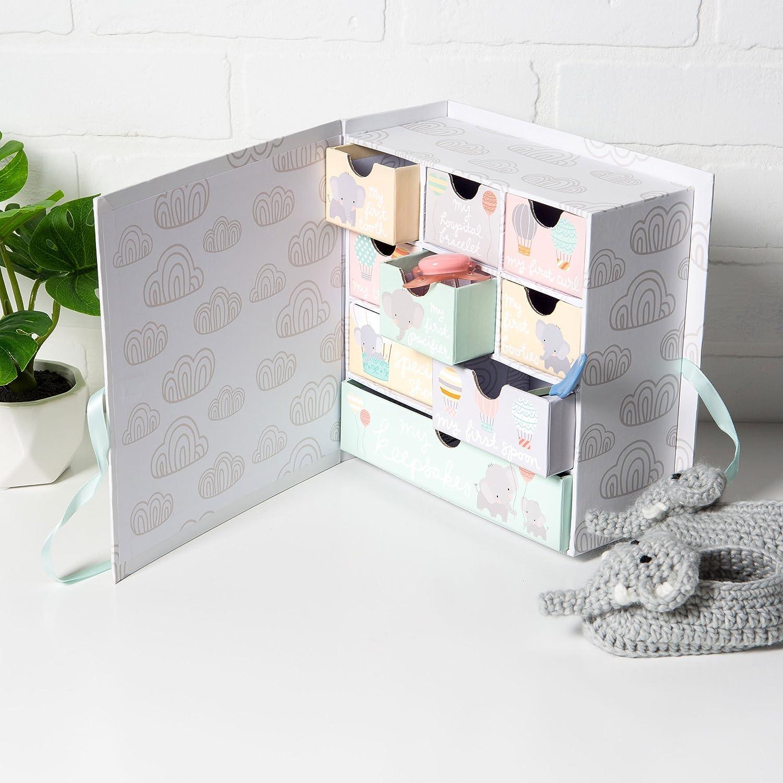 Track Treasured Memories Moon /& Stars Tri-Coastal Design Baby Milestone Keepsake Storage Box