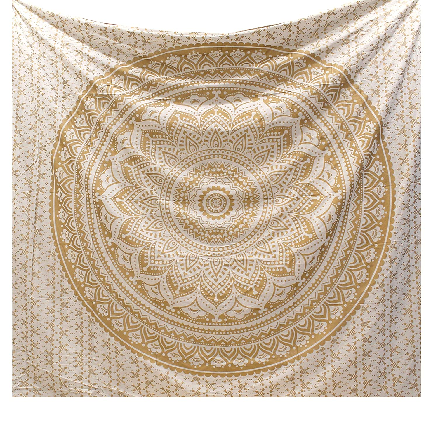 Raajsee Glittering Gold Mandala Tapestry Wall Hanging - Boho Bedding Bohemian Indian Cotton Hippie Tapestries Large - Dorm Decor White Golden Queen Bedspread - Hippy Elephant Meditation Yoga Mat Beach Blanket Rugs 220x210 cms- Christmas Gift j.p.fashions
