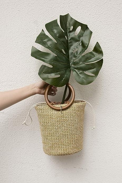Amazon.com: Bolso de mano de paja con asa y cordón en forma ...