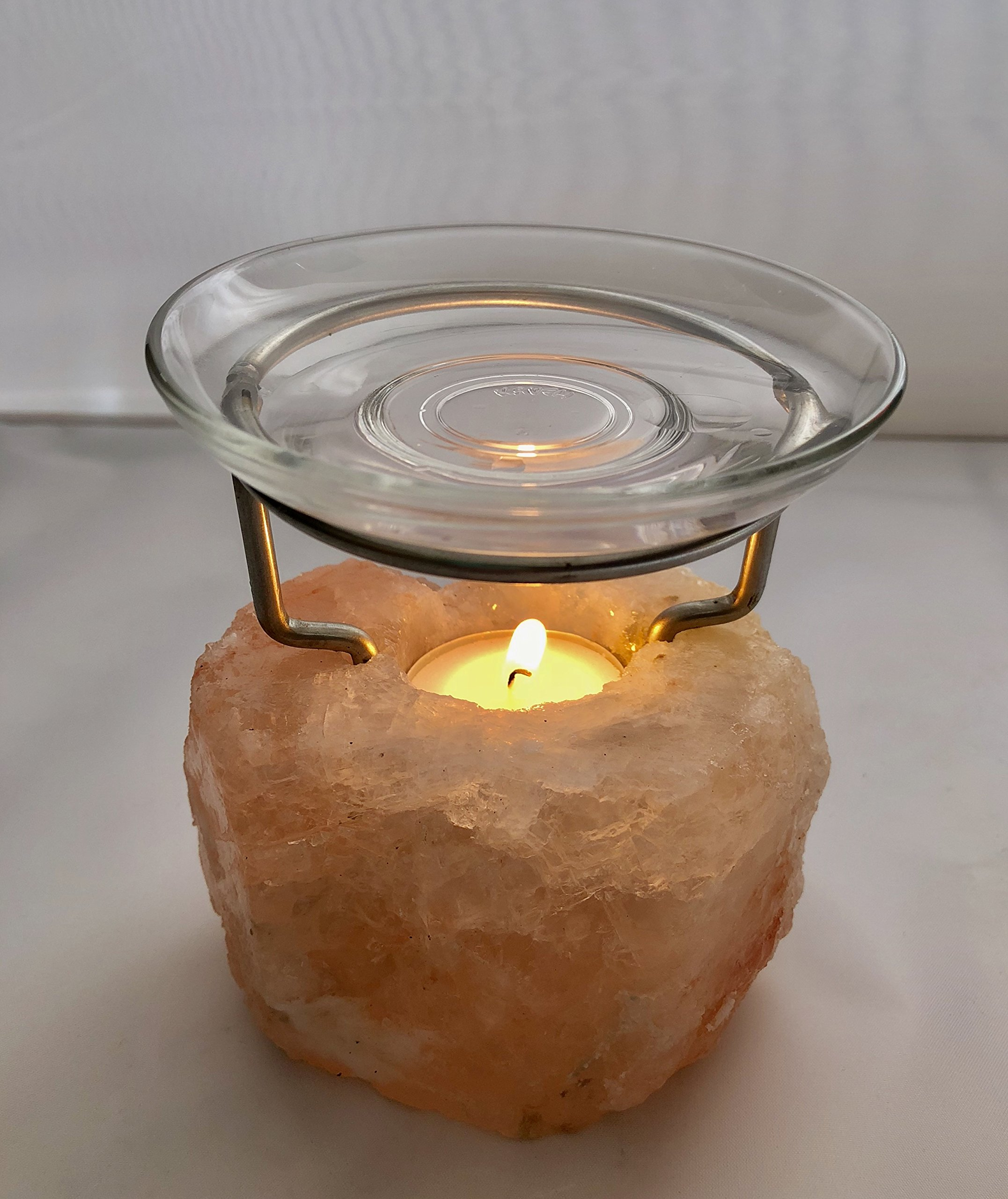 Brighter Living Organics: Himalayan Glow Crystal Salt Lamp |Tealight |Candle Holder | Oil Diffuser | Hand Carved |Natural Shaped | (Aromatherapy)