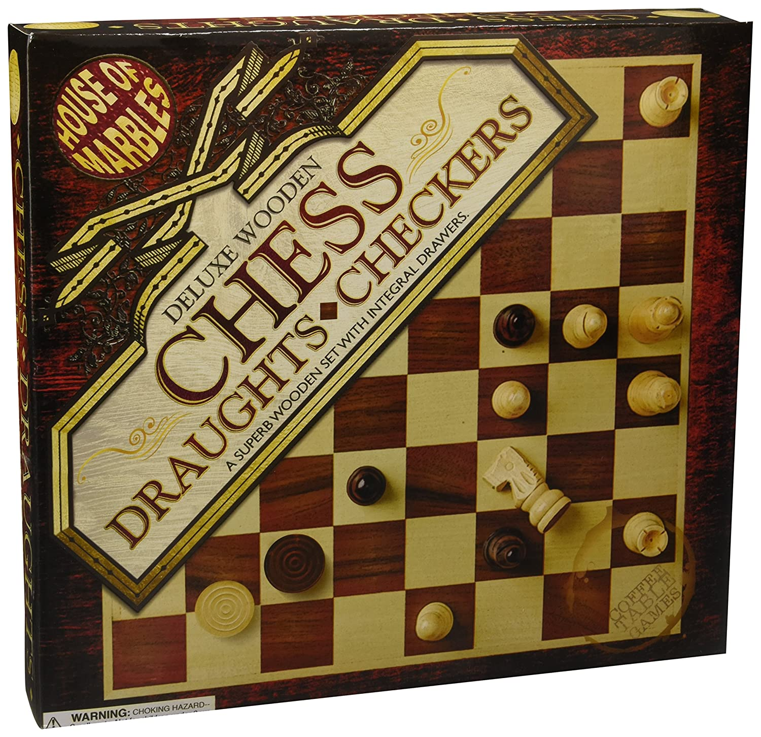 House of Marbles Deluxe Wooden Chess & Draughts Set
