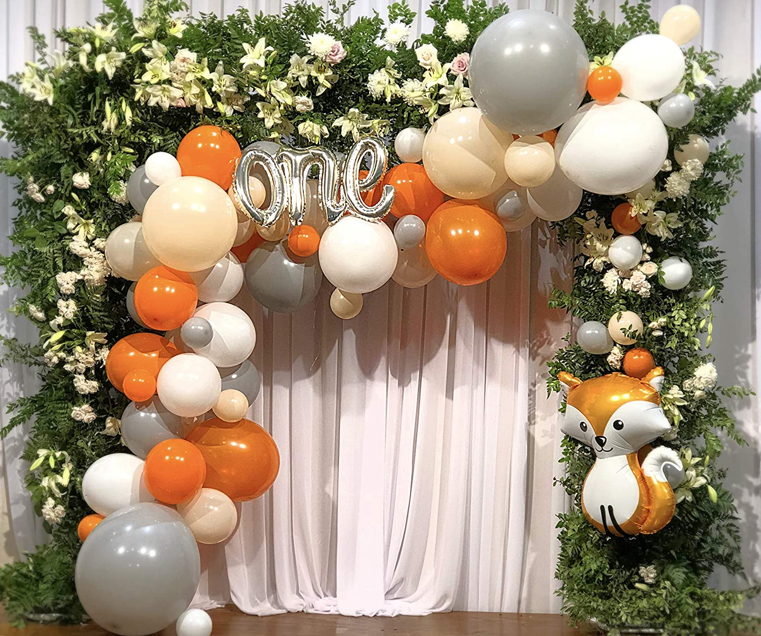 DIY Balloon Garland – Balloon Arch with Woodland Fox, One Script, White, Orange, Blush and Grey Balloons – Baby Shower, Birthday Party Decorations – by Alchik