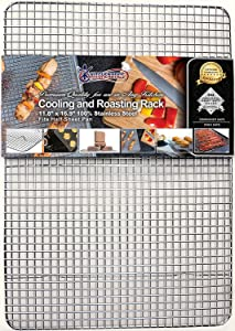 KITCHENATICS Professional Grade Stainless Steel Cooling and Roasting Wire Rack Fits Half Sheet Baking Pan for Cookies, Cakes Oven-Safe for Cooking, Smoking, Grilling, Drying - Heavy Duty Rust-Proof
