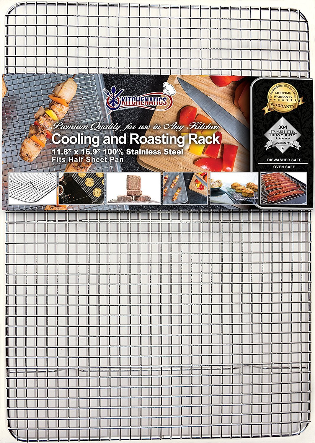 KITCHENATICS Professional Grade Stainless Steel Cooling and Roasting Wire Rack Fits Half Sheet Baking Pan for Cookies, Cakes Oven-Safe for Cooking, Smoking, Grilling, Drying - Heavy Duty Rust-Proof by KITCHENATICS