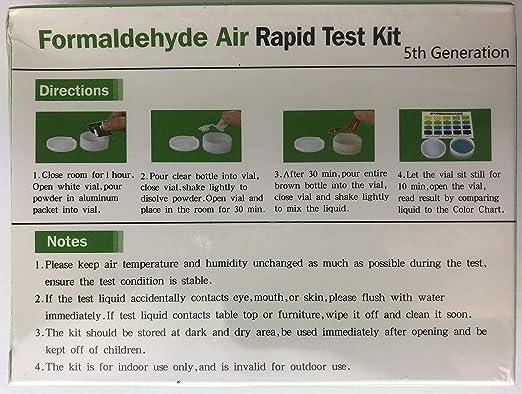 5th Gen. DIY TESTING INDOOR AIR FORMALDEHYDE AIR RAPID TEST KIT US Seller!