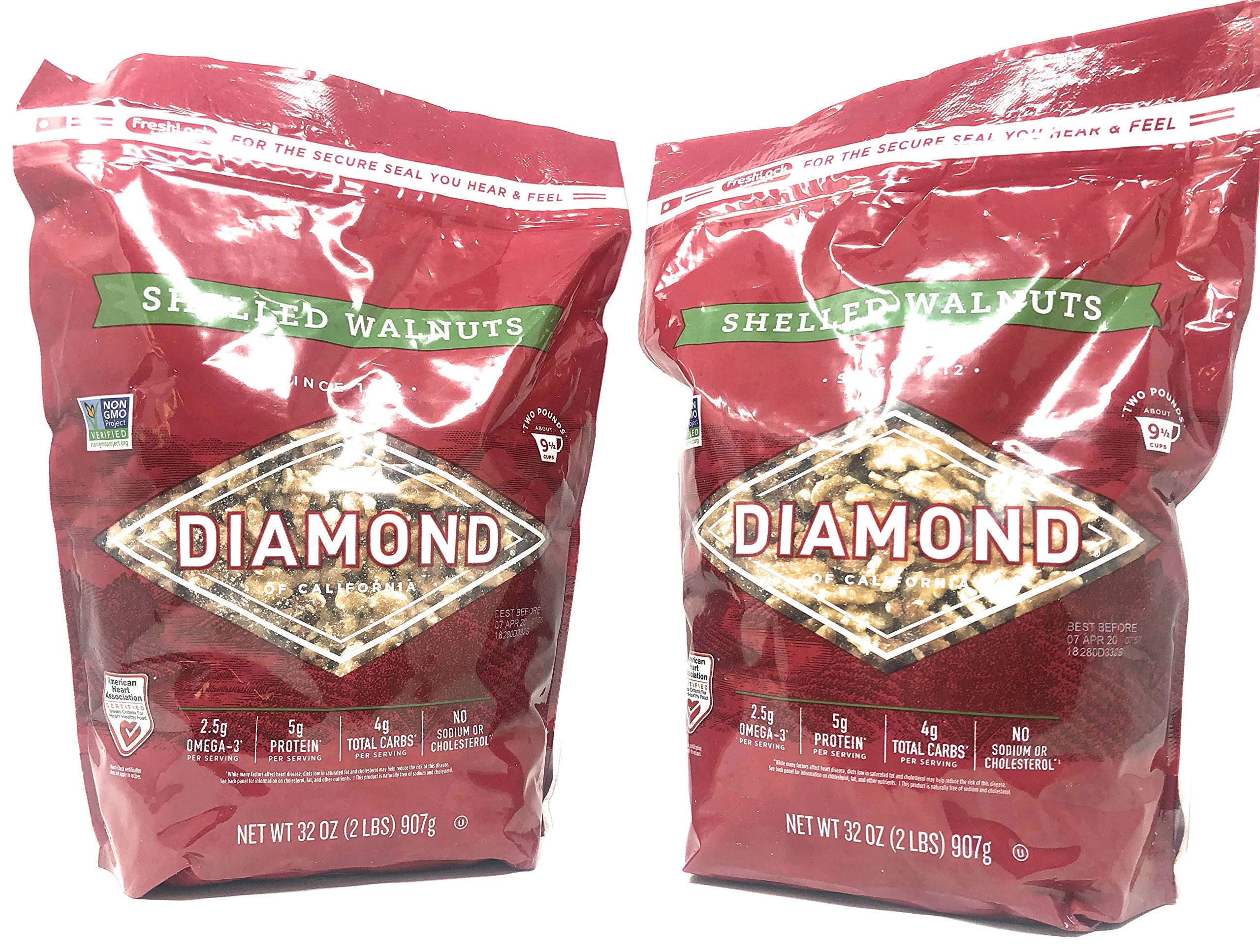 Diamond of California Shelled Walnuts - Pack of 2 Bags - 32 oz Each, 64 oz Total (Pack of 2)