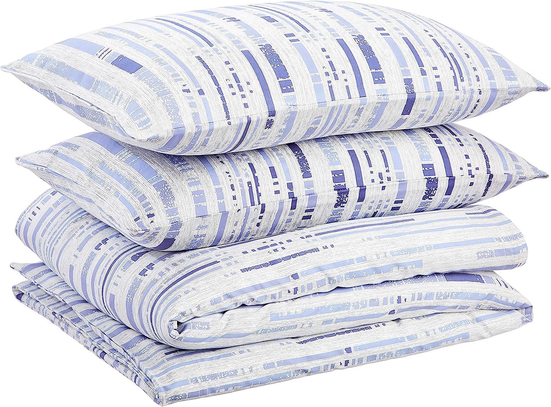 Juego de ropa de cama con funda de edred/ón de sat/én 135 x 200 cm // 50 x 80 cm x 1 Basics A rayas