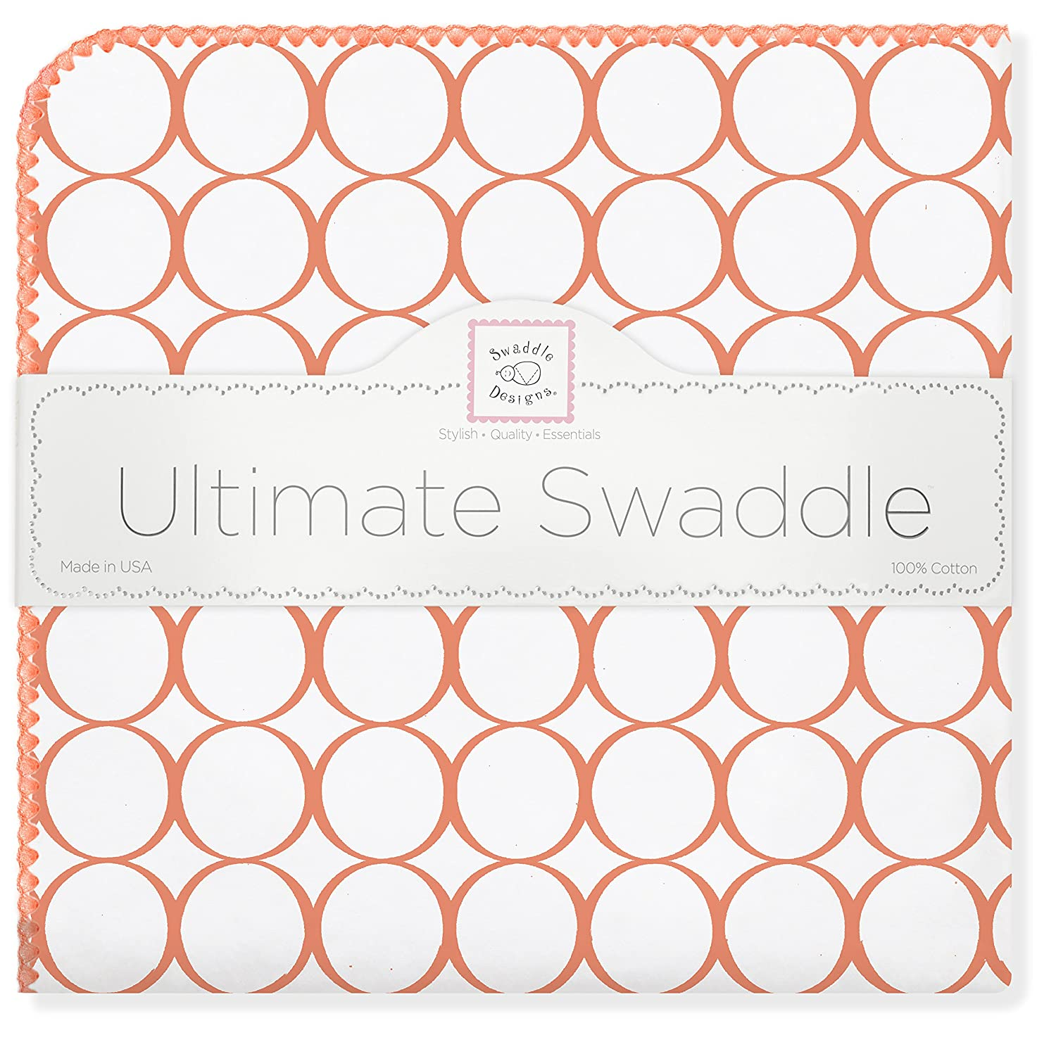 SwaddleDesigns Ultimate Swaddle Blanket, Made in USA, Mod Circles, Orange
