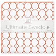 SwaddleDesigns Ultimate Winter Swaddle, X-Large Receiving Blanket, Made in USA Premium Cotton Flannel, Orange Mod Circles (Mom's Choice Award Winner)
