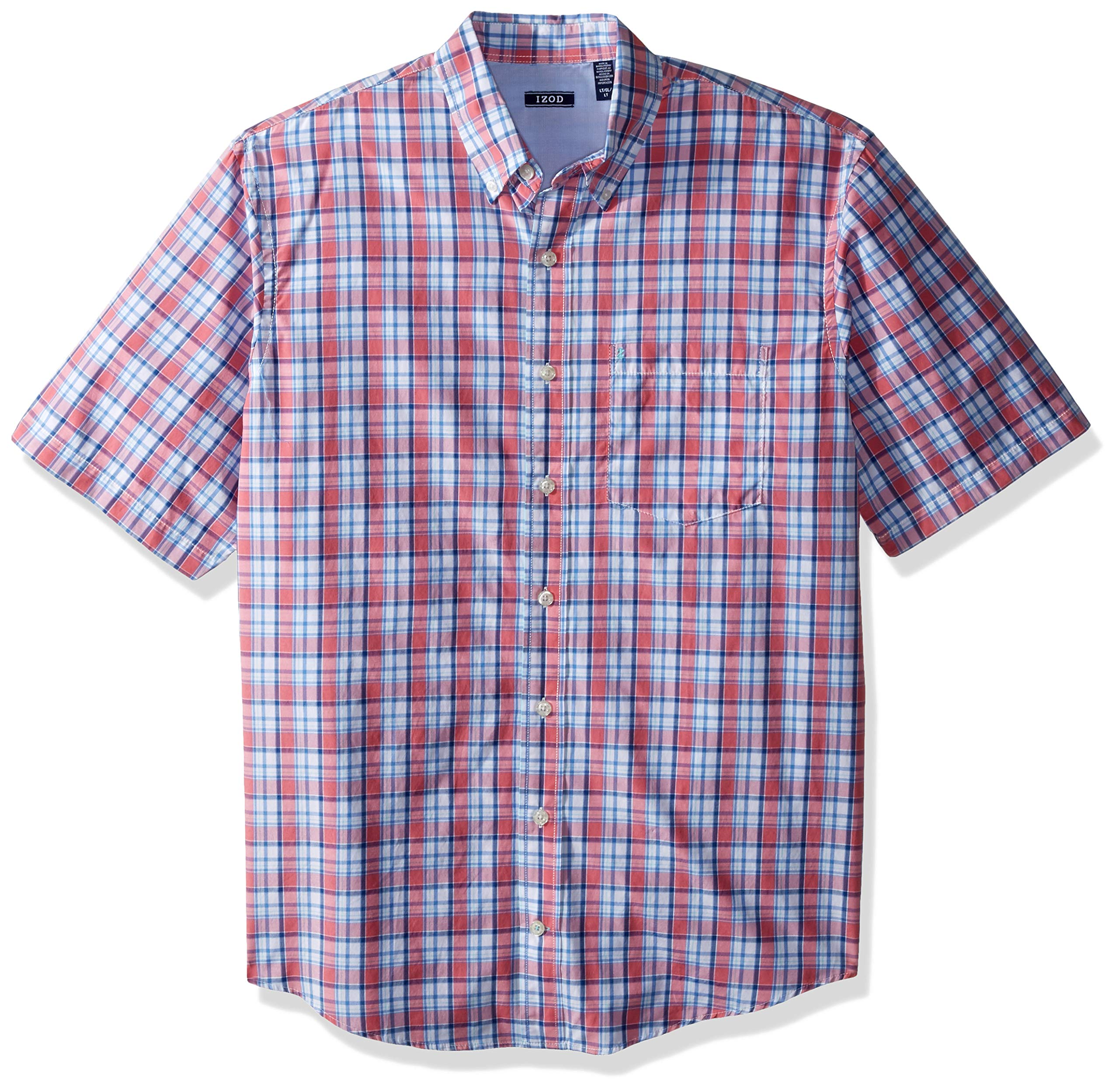 IZOD Men's Big and Tall Breeze Short Sleeve Button Down Plaid Shirt, Pure Rose, 5X-Large