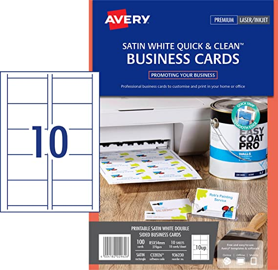 Avery c32026 10 double side printable business cards with satin avery c32026 10 double side printable business cards with satin finish 270 gsm for laser printers 85 x 54mm cards 10 cards per a4 sheet 10 sheets per reheart Gallery