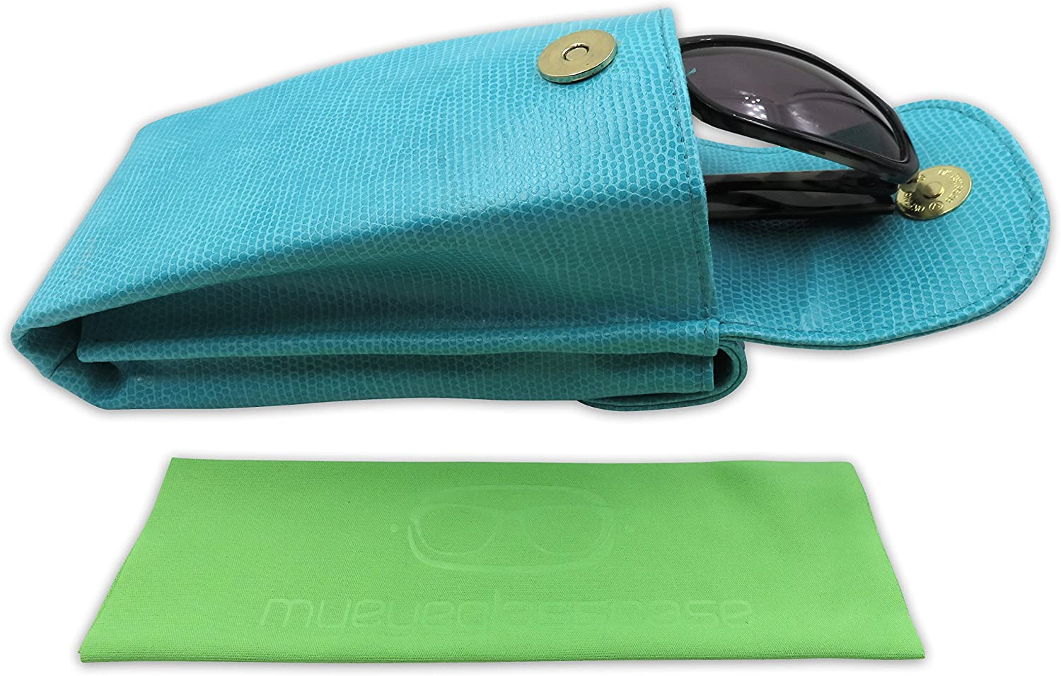 MyEyeglassCase Ex Large Double Glasses Case Dual Pouch for Eyeglass Case /& Sunglasses case with Cloths