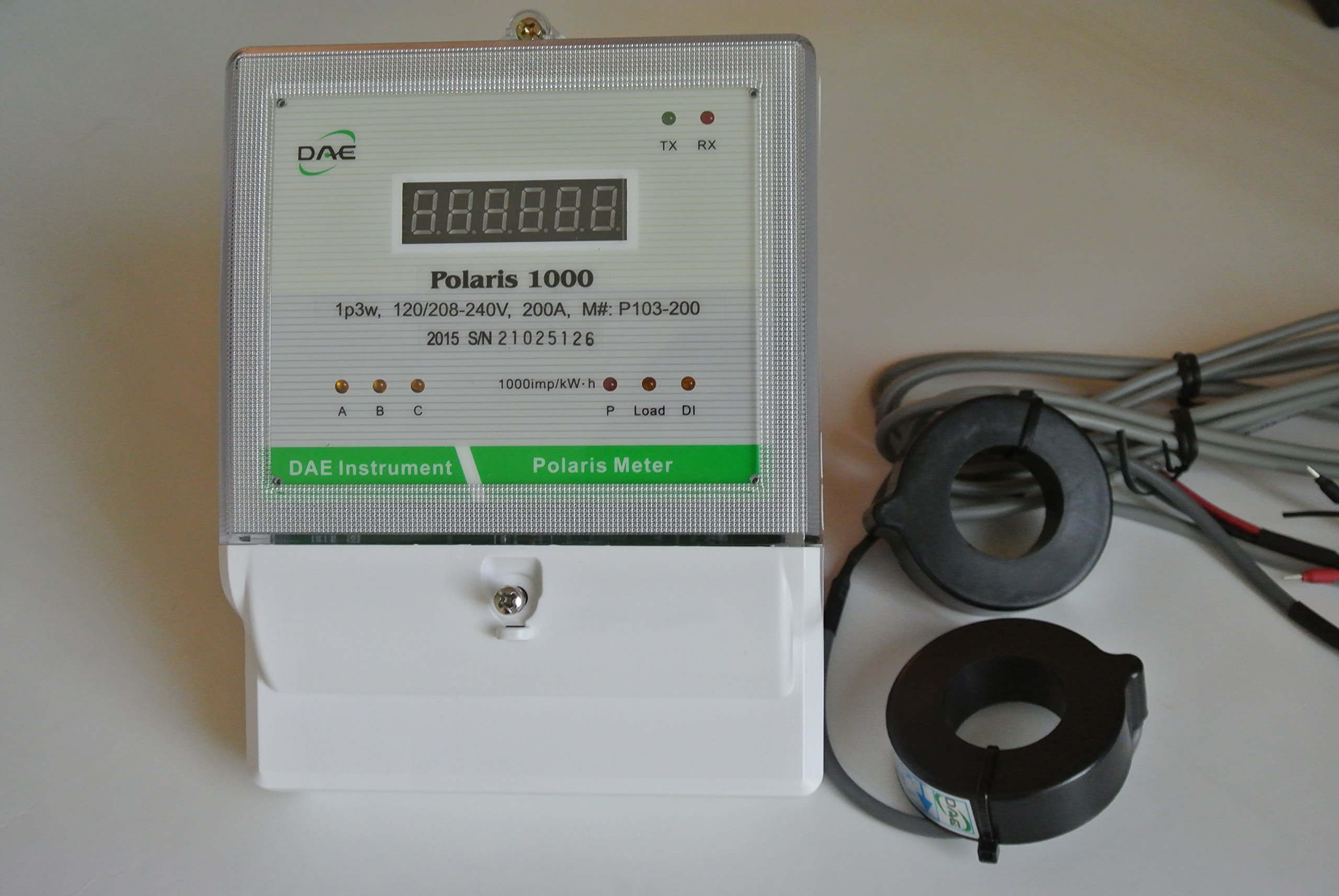 DAE P103-200-S KIT UL Listed kWh Smart Submeter Polaris 1000, 1 or 2 phase, 3 wire, 200A, 120/208-240v, with 2 Solid Cores CTs