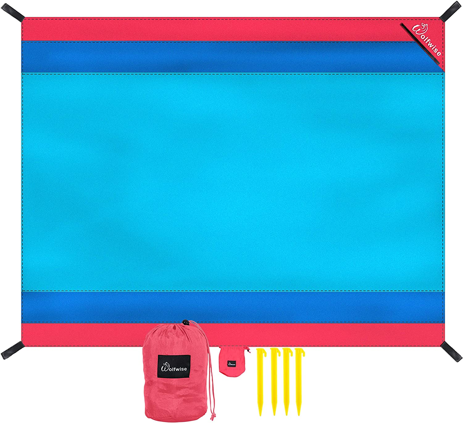 WolfWise Sandfree Beach Blanket,40D Nylon Waterproof Beach Mat Extra Large Compact Picnic Mat for beach Travel, Camping, Hiking and Music Festivals, Lightweight with 4 Stakes,Blue
