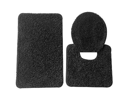 5th Avenue 3 Piece Bathroom Rug Set   Bath Mat, Contour, Cover (Black