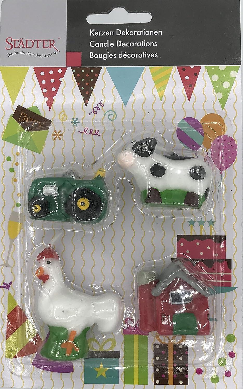 4 Minikerzen * BAUERNHOF * für Party und Geburtstag // Kerzen Kuchen Torte Deko Candle Traktor Hahn Kuh Bauernhaus Städter 910317