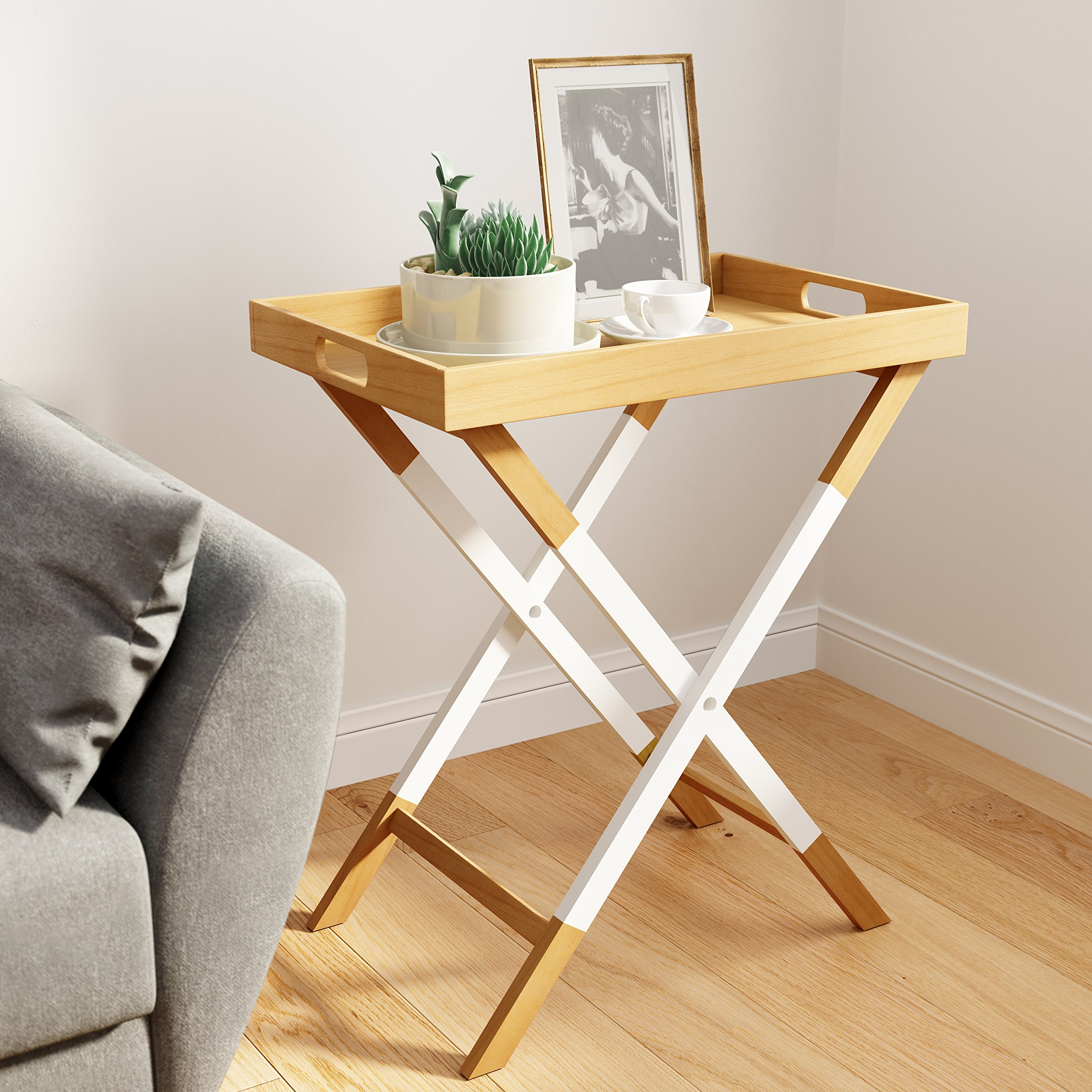 Universal Experts FUST10026A Remus Folding Tray Table, Oak/White