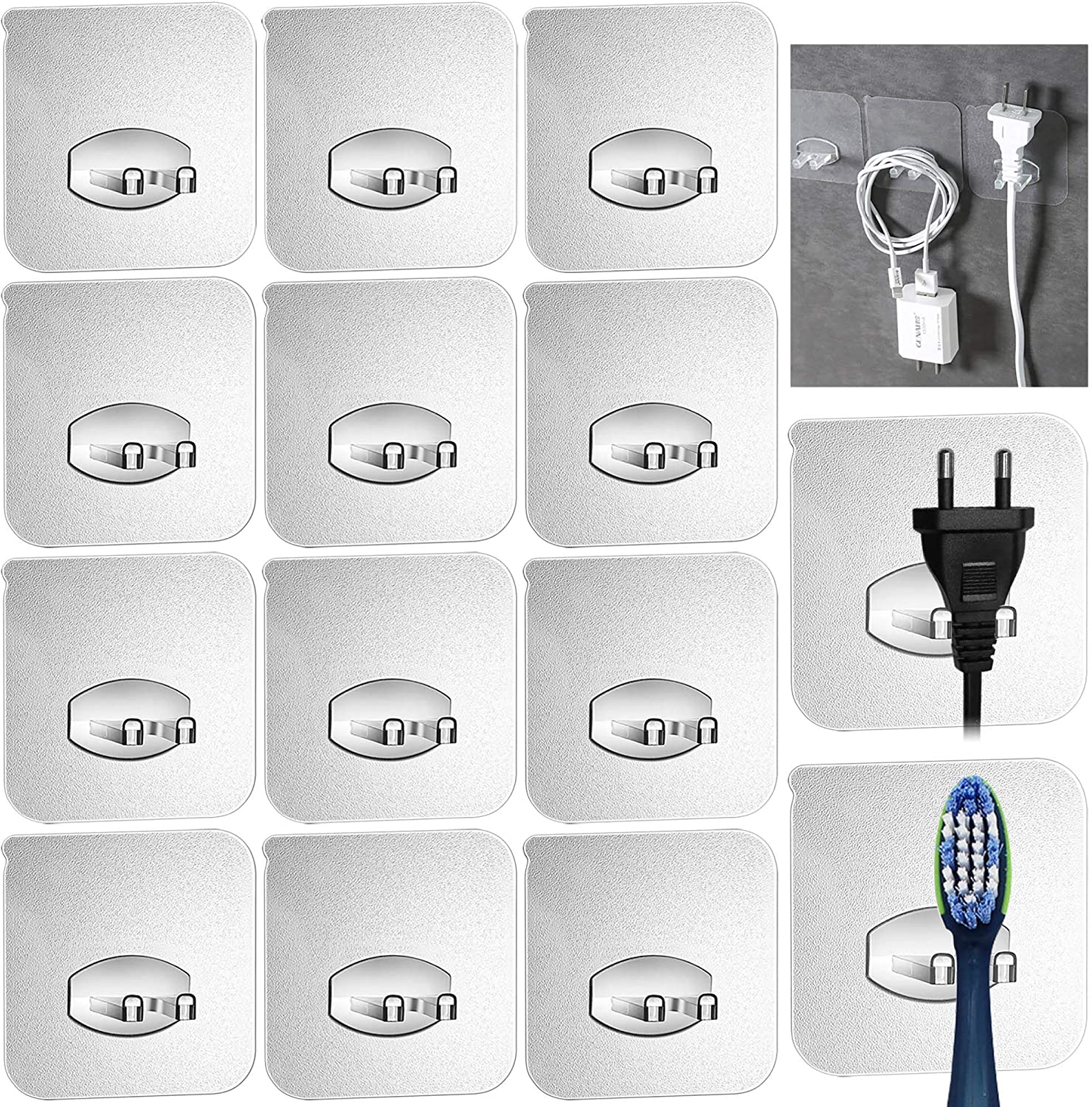 12pcs Adhesive Toothbrush Holder Wall Mounted,Multi-Function Wall Storage Hook,Transparent Seamless Reusable,Power Plug Socket Holder,Razor Holder,Home Office Bathroom Wall Hanger for Keys,Phone