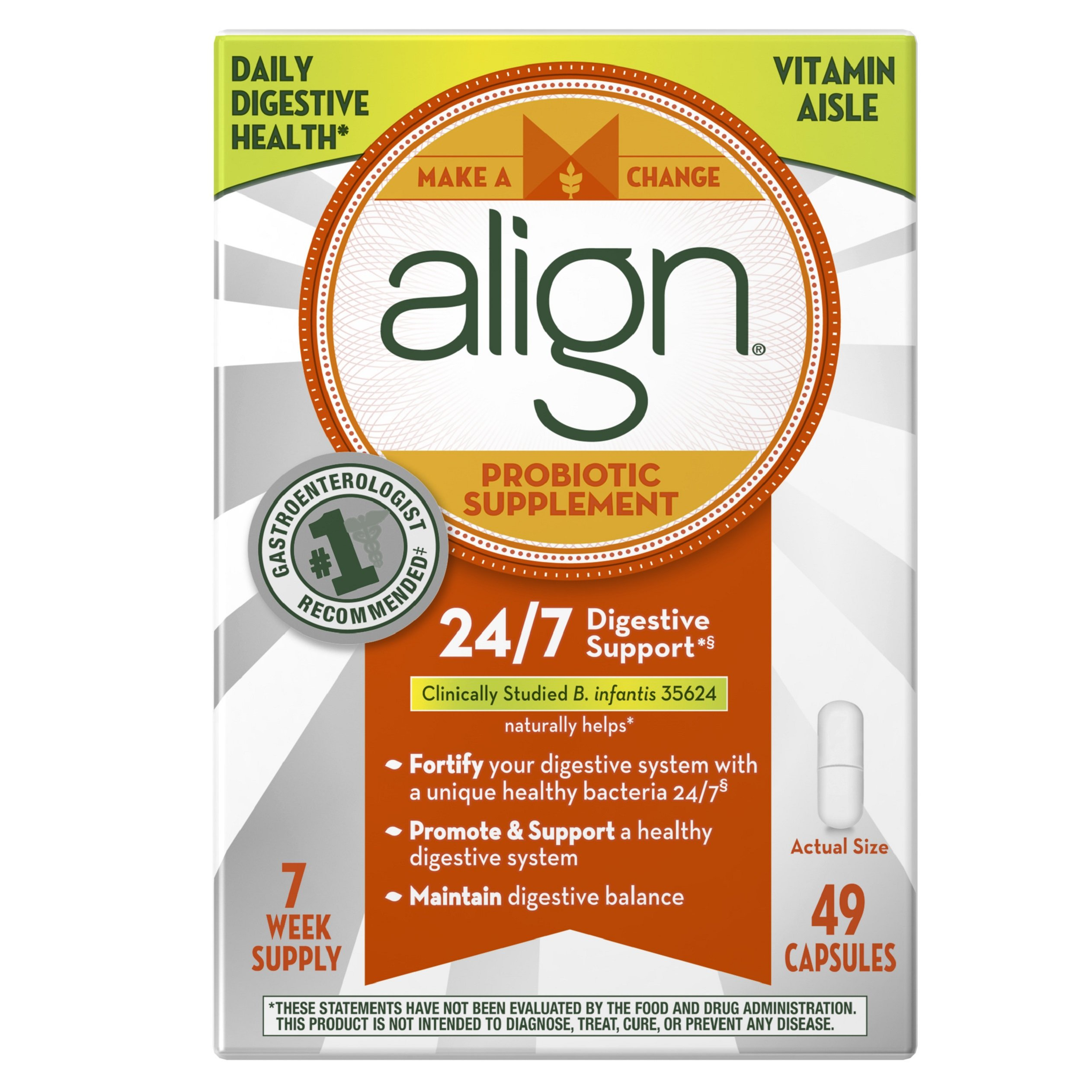 Align Daily Probiotic Supplement, Probiotics Supplement, 49 Capsules