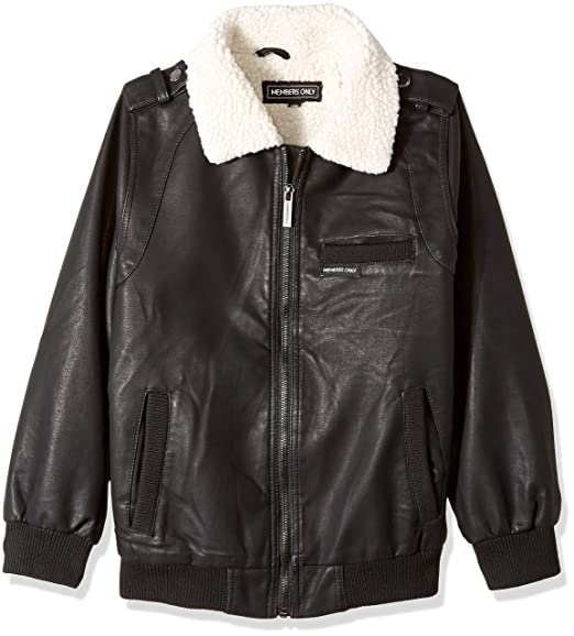 7f5d03a18 Amazon.com: Members Only Boys' Berber Lined Vegan Leather Bomber Jacket:  Clothing
