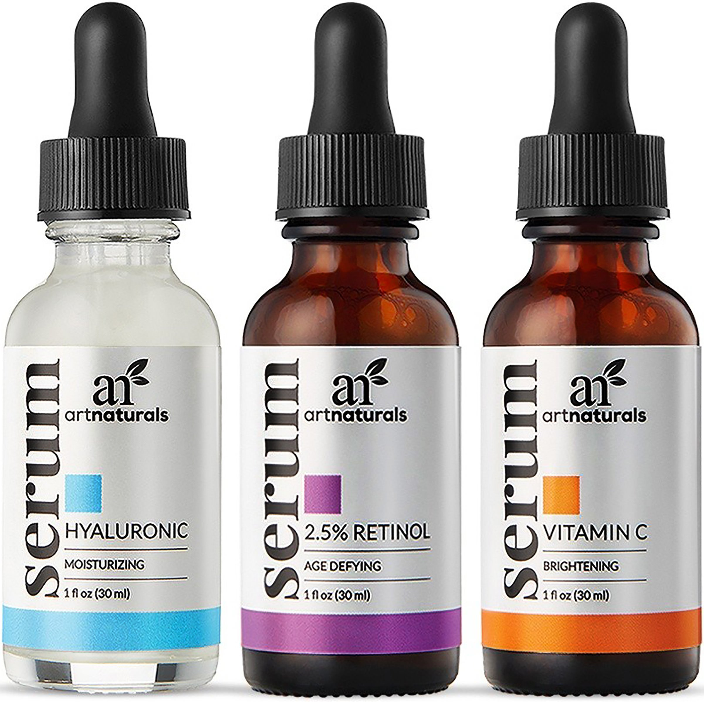 ArtNaturals Anti-Aging-Set with Vitamin-C Retinol and Hyaluronic-Acid - (3 x 1 oz) Serum for Anti Wrinkle and Dark Circle Remover – All Natural and Moisturizing by ArtNaturals (Image #1)