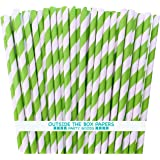 Stripe Paper Straws - Lime Green White - 7.75 Inches - Pack of 100