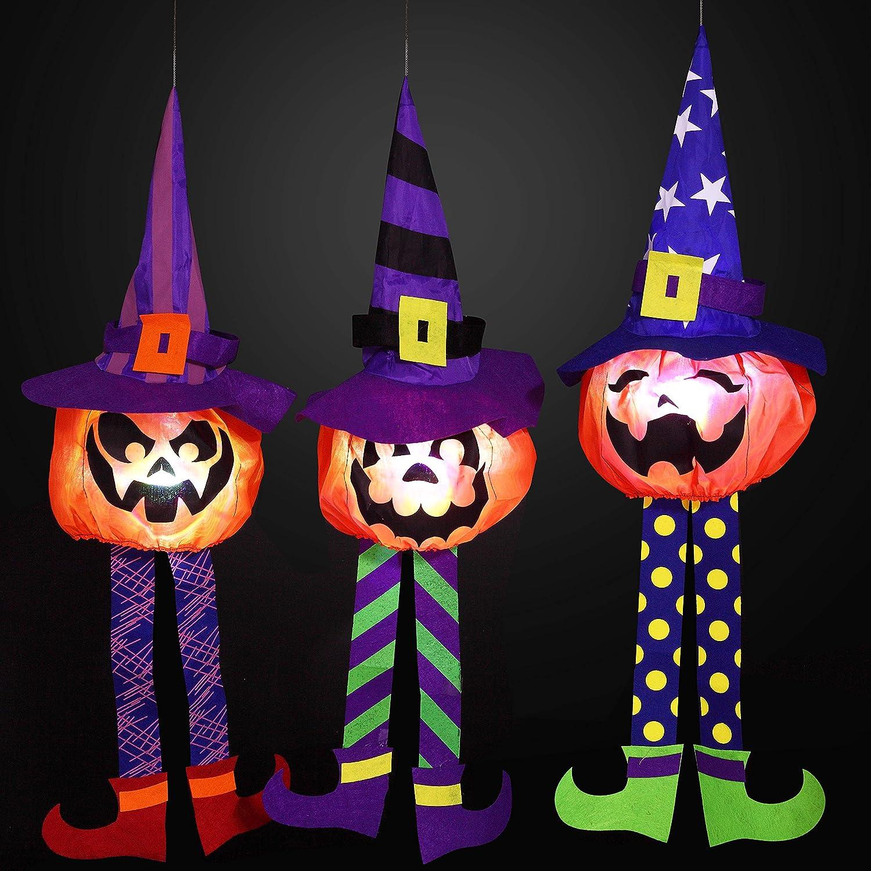 JOYIN 3 Packs Halloween Outdoor Pumpkin LED Light Up Lantern Party Decor for Halloween, Outdoor Decoration, Halloween-Themed Party Decorations