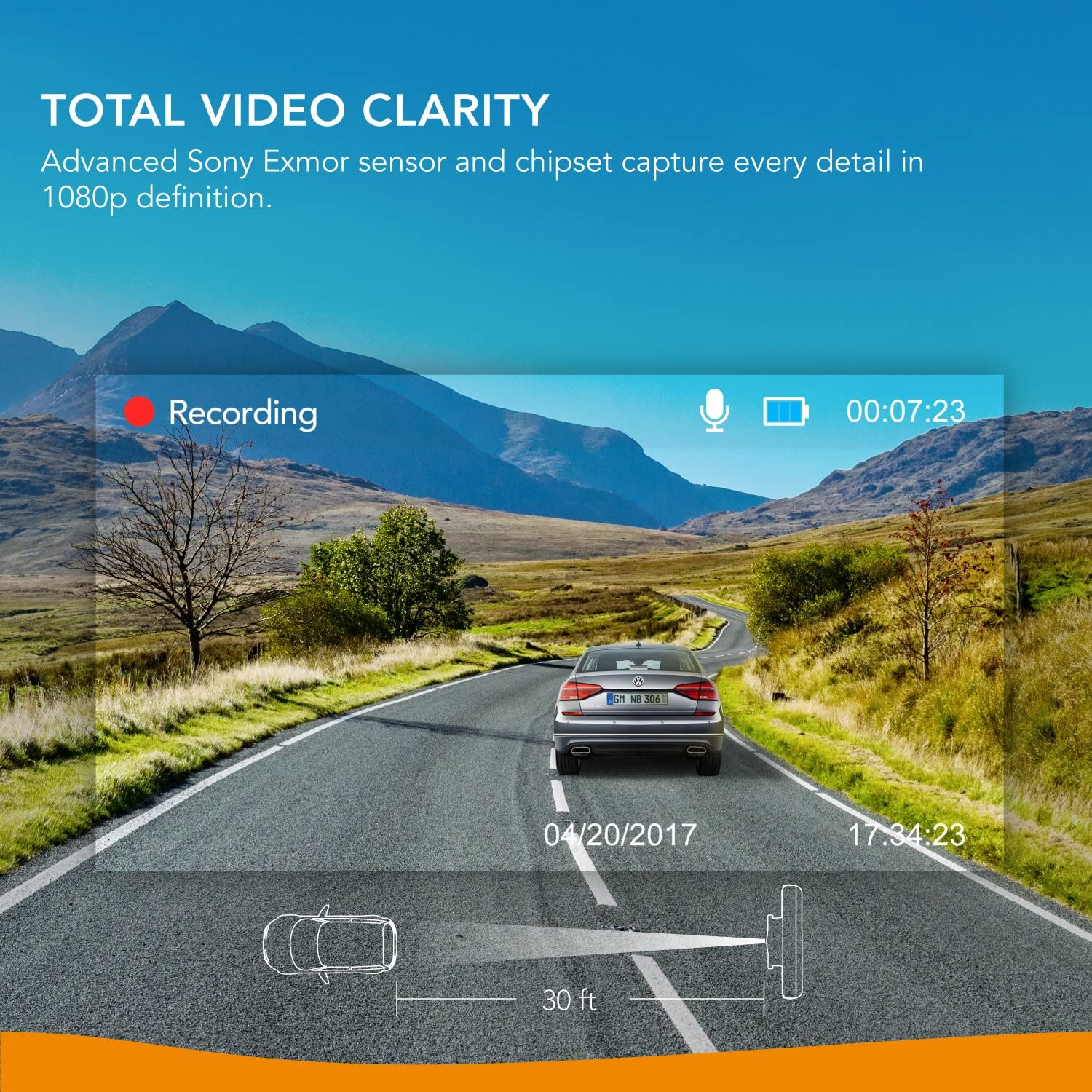 Driving Recorder Loop Recording Dash Cam for Car Anker Roav DashCam A1 Dedicated App Wi-Fi Motion Detection Night Mode Wide Angle Lens WDR Nighthawk Vision G-Sensor 1080p FHD LCD Screen