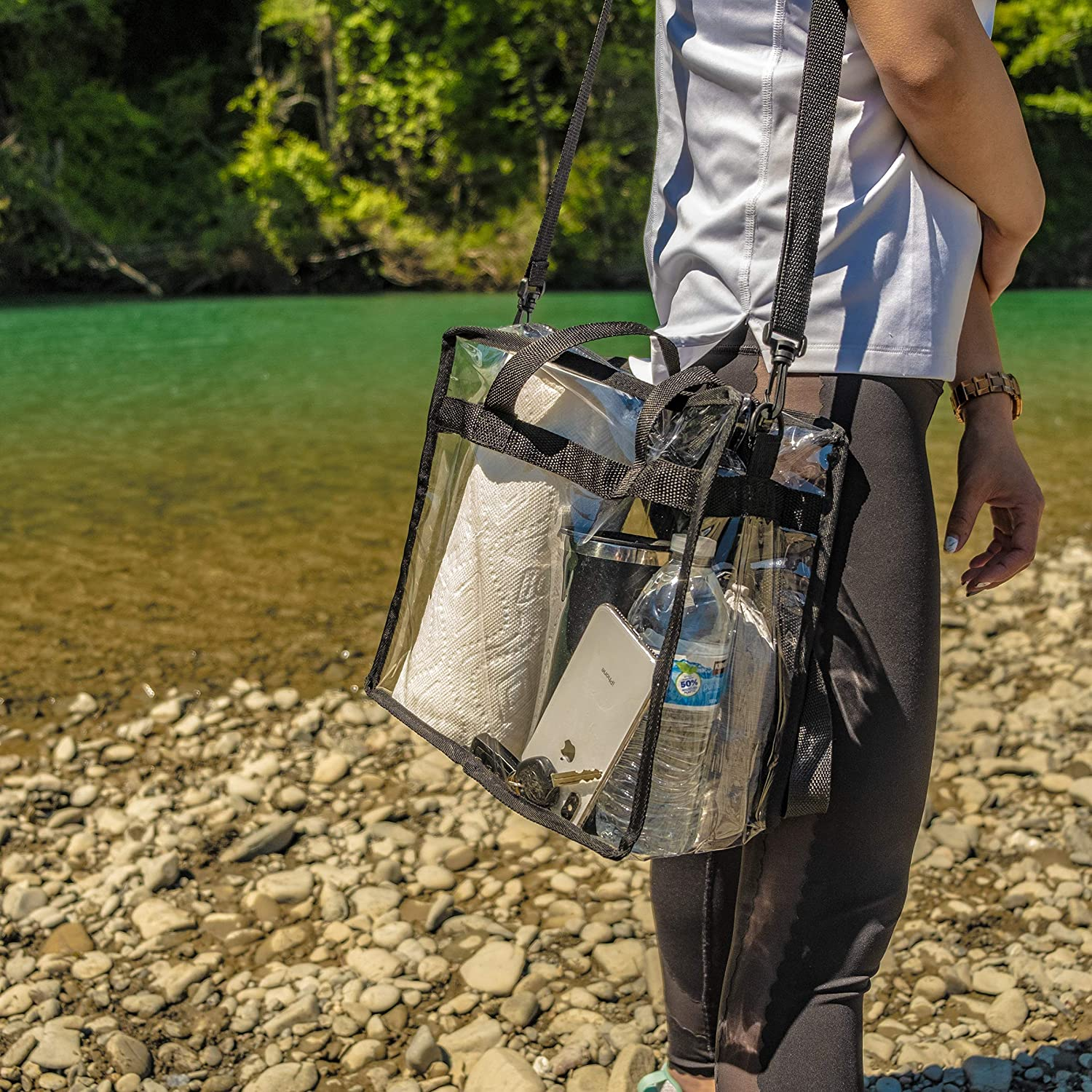 """Zuess Premium Clear Stadium Approved Bag Clear Tote Bag with Cross Body Messenger Adjustable Shoulder Strap-12/"""" X 12/"""" X 6/"""""""