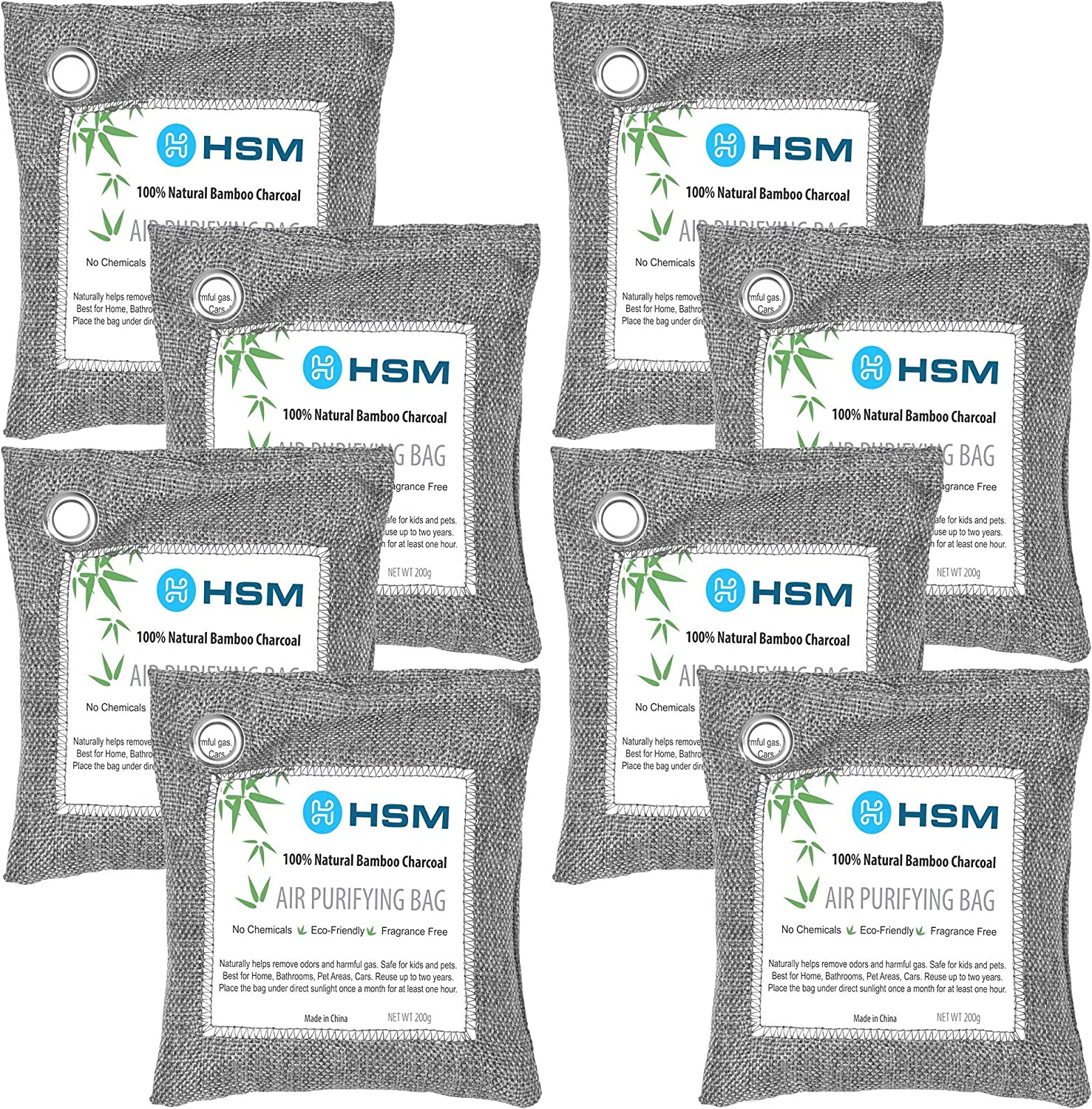 HSM MED SUPPLY Bamboo Charcoal Air Purifying Bags (8 Pack), Charcoal Bags Odor Absorber for Home (Pet Friendly) - Charcoal Air Purifying Bags (8 x 200g)