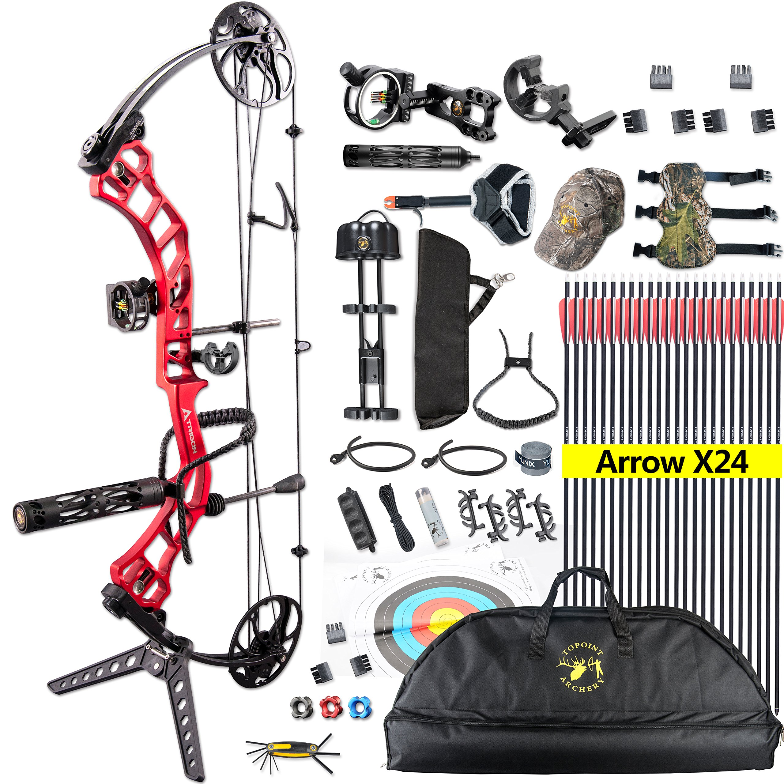 TOPOINT Trigon Compound Bow Full Package,CNC Milling Riser,USA Gordon Composites Limb,BCY String,19''-30'' Draw Length,19-70Lbs Draw Weight,IBO 320fps (RED)