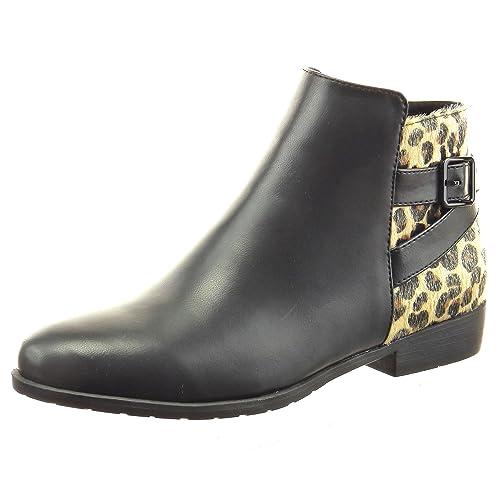 Sopily - Zapatillas de Moda Botines cavalier Tobillo mujer piel de serpiente Hebilla Talón Tacón ancho 2.5 CM - Negro CAT-3-AS1557 T 41: Amazon.es: Zapatos ...
