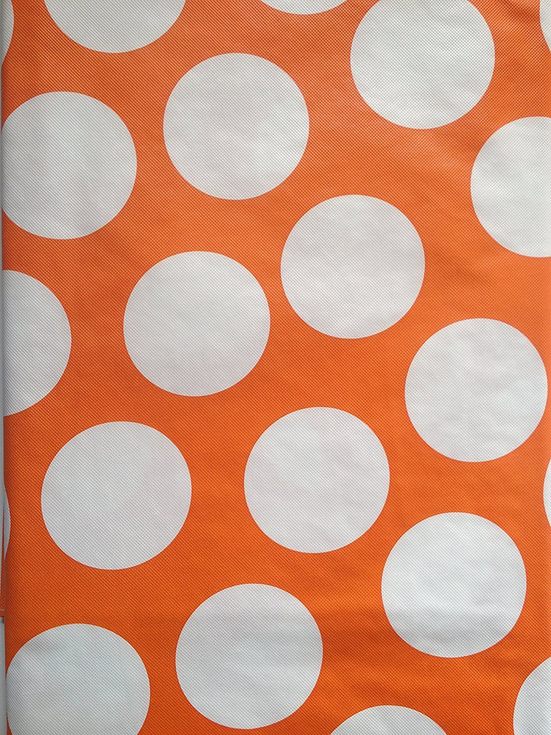 Orange and White Polka Dot Assorted Sizes 60 Round Summer Fun Flannel Back Vinyl Tablecloths