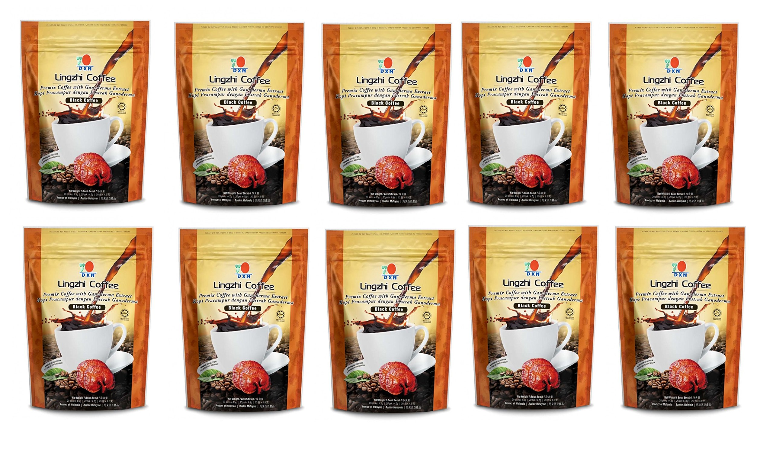 10 Packs DXN Lingzhi Black Coffee with Ganoderma Extract ( Total 200 sachets )