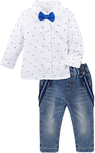 73c18bc2d23e Lilax Baby Boys Gentleman Outfit Long Sleeve White Shirt with Suspender and  Pant 2 Piece Set