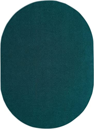 Indoor Outdoor Teal Area Rugs with Premium Non Skid Backing Great for Patio, Porch, Deck, Party, Garage, Boat, Event, Basement, Wedding Tents and More Available Size 8 x10 Oval