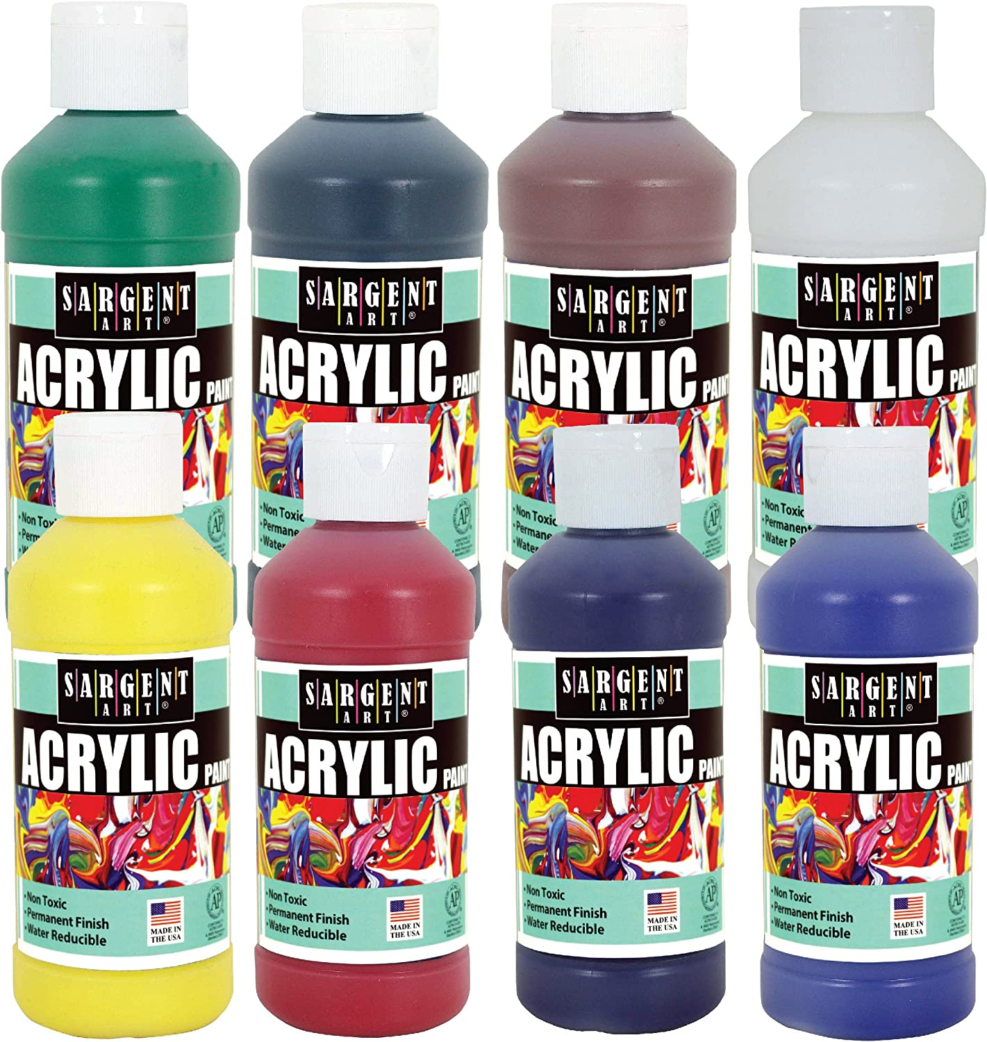 Sargent Art Craft 8 oz Acrylic Paint Set with 8, Assorted, 8 Count