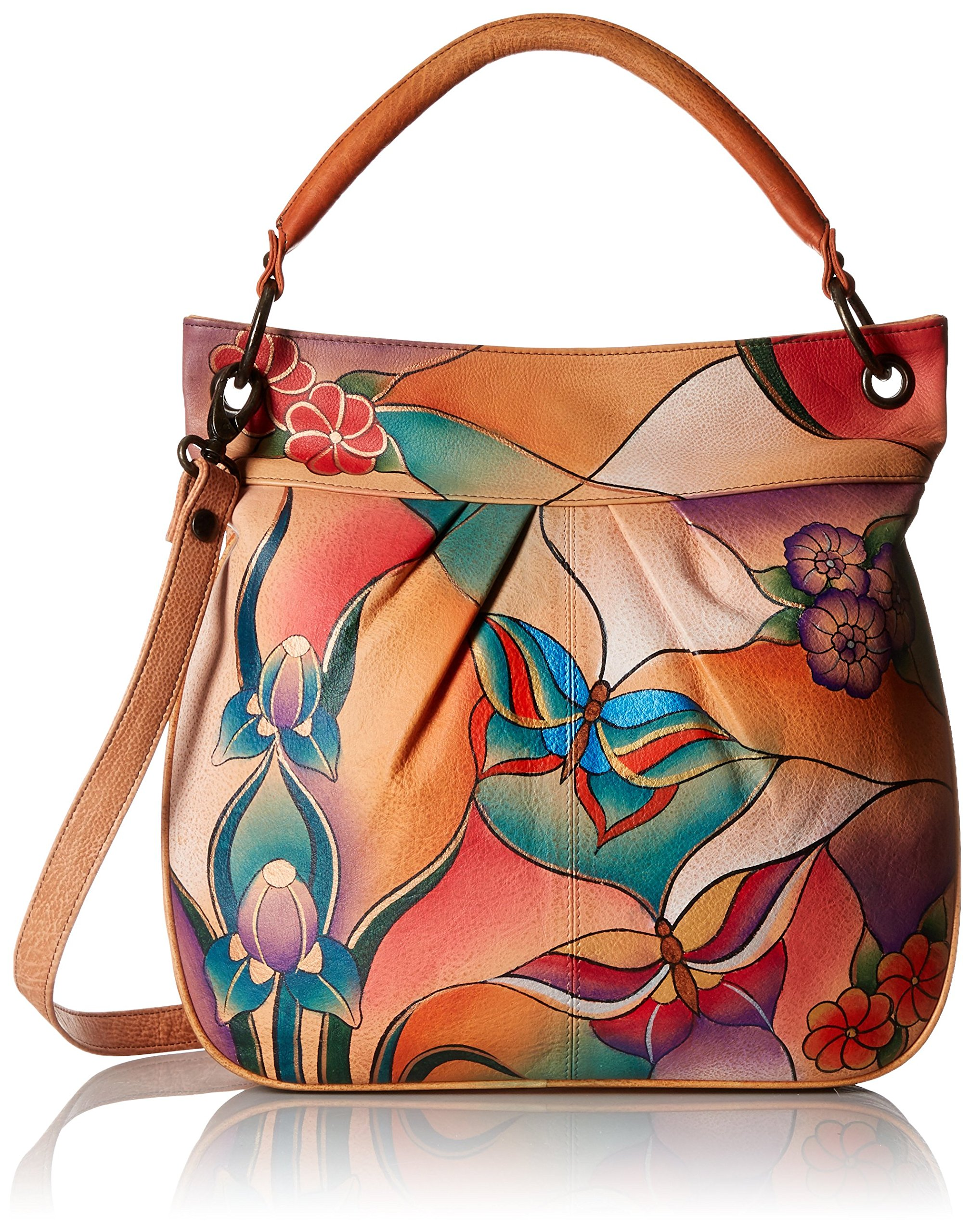 Anuschka Handpainted Leather Large Convertible Tote, Butterfly Glass Painting, One Size by Anna by Anuschka