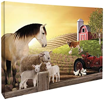 Amazon.com: JP London CNV2006 Gallery Wrap Heavyweight Barnyard Farm ...