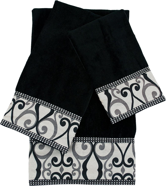 Sherry Kline Abingdon 3-Piece Embellished DecorativeTowel Set, Black