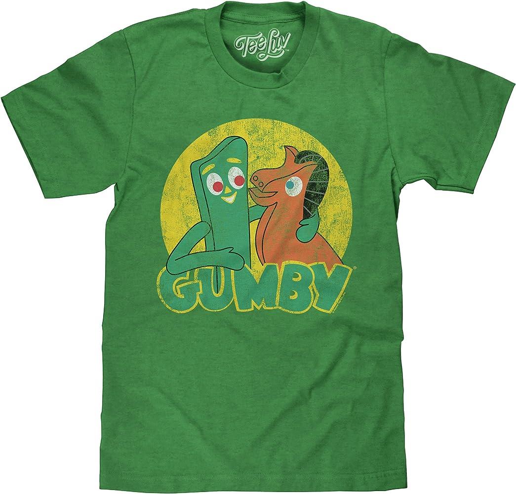 Amazon Com Tee Luv Gumby T Shirt Gumby And Pokey Cartoon Shirt Green Heather Sm Clothing