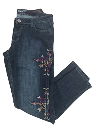 37f057de Wrangler Women's Premium Patch Mae Embroidered Skinny Leg Above The Hip Jean  at Amazon Women's Jeans store