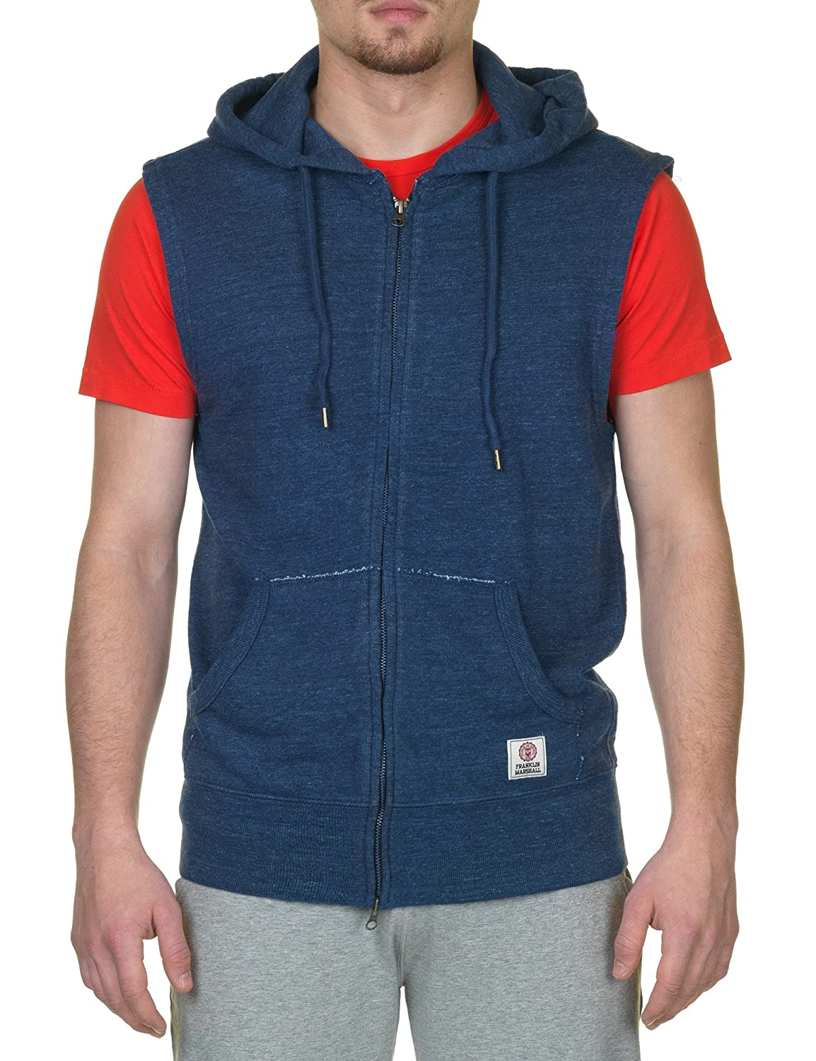 Franklin & Marshall Men's Blue Vest With Hood 100% Cotton