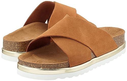Vmlisa Leather Sandal, Sandalias Planas Mujer, Rojo (Fig), 37 EU Vero Moda
