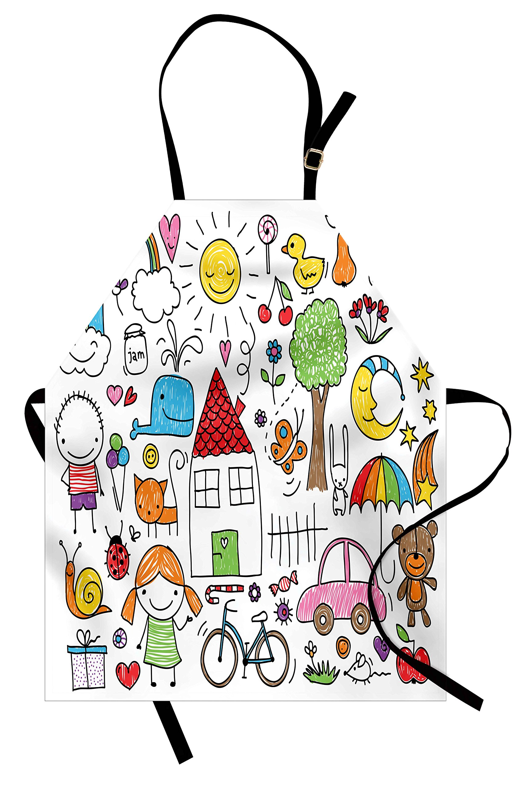 Ambesonne Doodle Apron, Simple Childlike Drawing of House Girl and Boy Teddy Bear and Various Other Things, Unisex Kitchen Bib Apron with Adjustable Neck for Cooking Baking Gardening, Multicolor